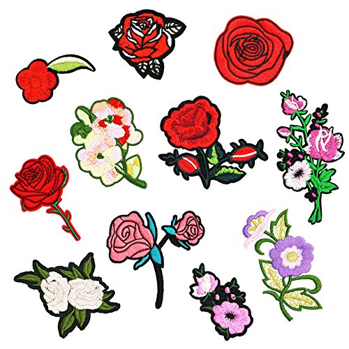 SOOKOO 11PCS Assorted Roses Flower Embroidered Repair Patches Iron On Cloth Paste DIY Applique Craft