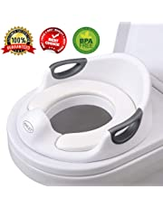Potty Training Seat For Boys and Girls Toilet Seat For Kids With Cushion Handle And Backrest Toddlers Secure Anti-slip Toilet Trainer Fits Round And Oval Toilets (White)