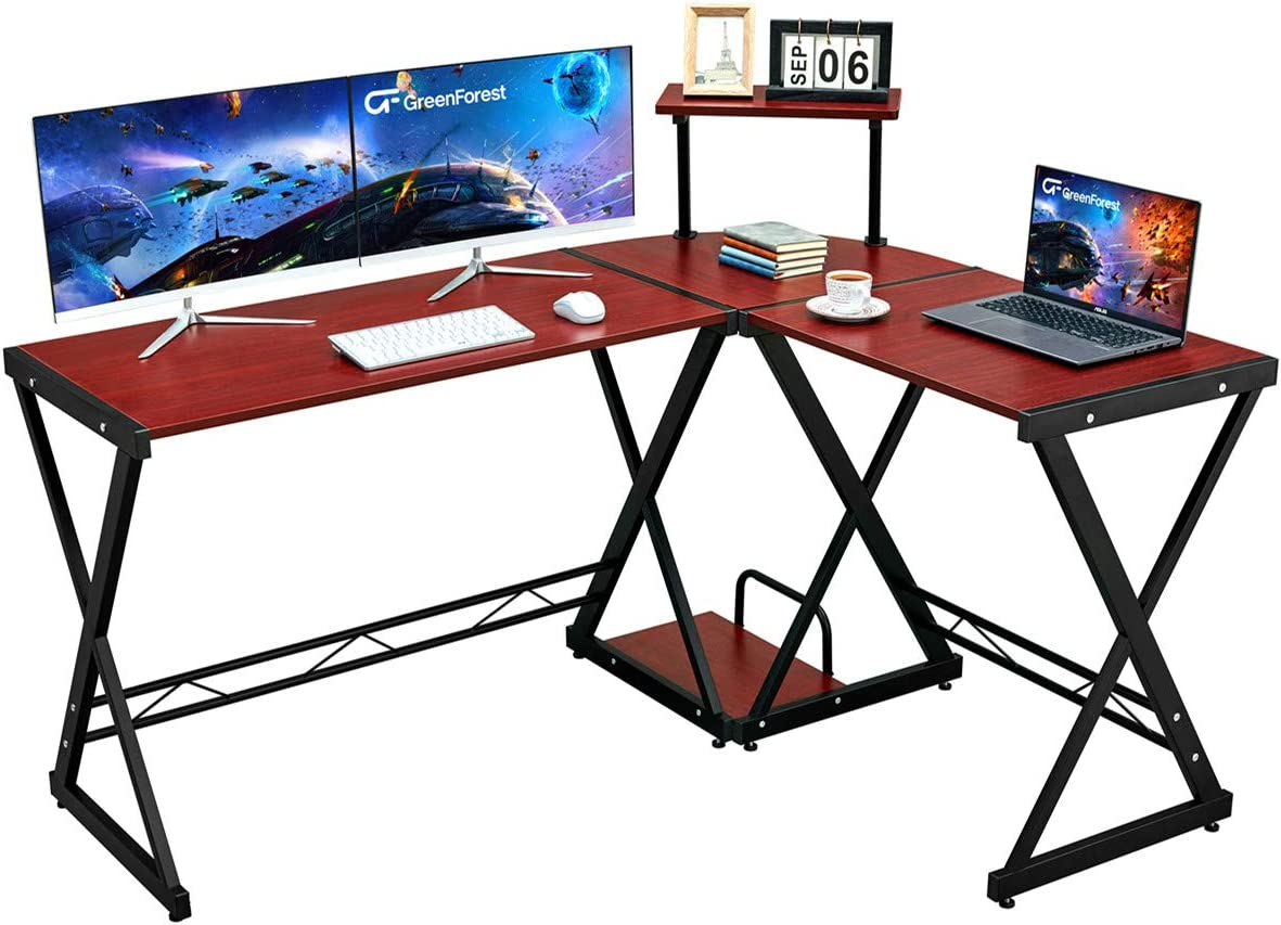 """GreenForest L Shaped Desk 58"""" Reversible Corner Computer Desk with Movable Shelf and CPU Stand, Gaming Desk with Sturdy X Leg Space Saving Home Office Workstation Table, Cherry"""