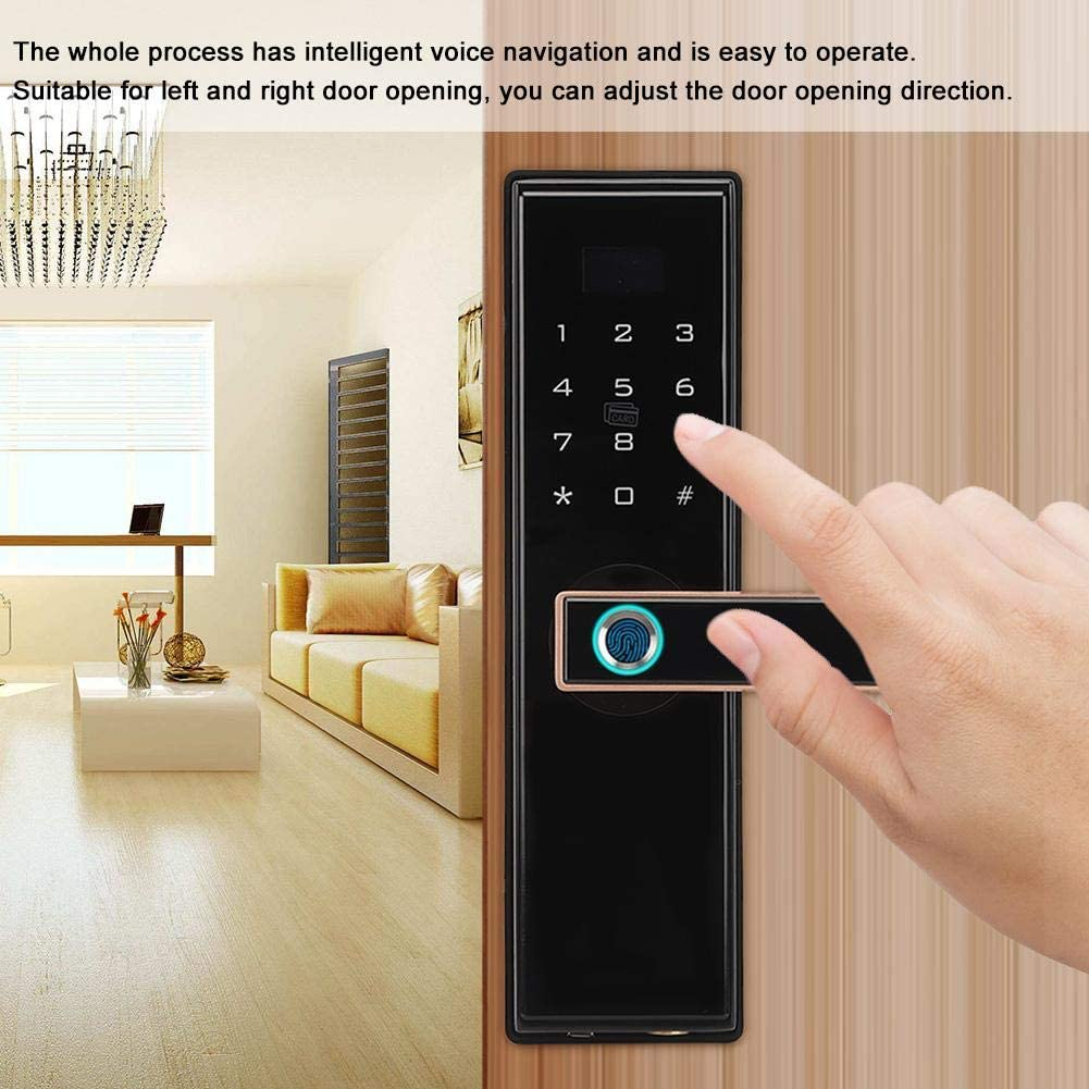 IC Card Smart Digital Keyless Entry Door Lock Deadbolt Password and Mechanical Key 4 Modes Unlock Fingerprint Biometric Home Office Security Lever Lock Fingerprint Door Handle Lock
