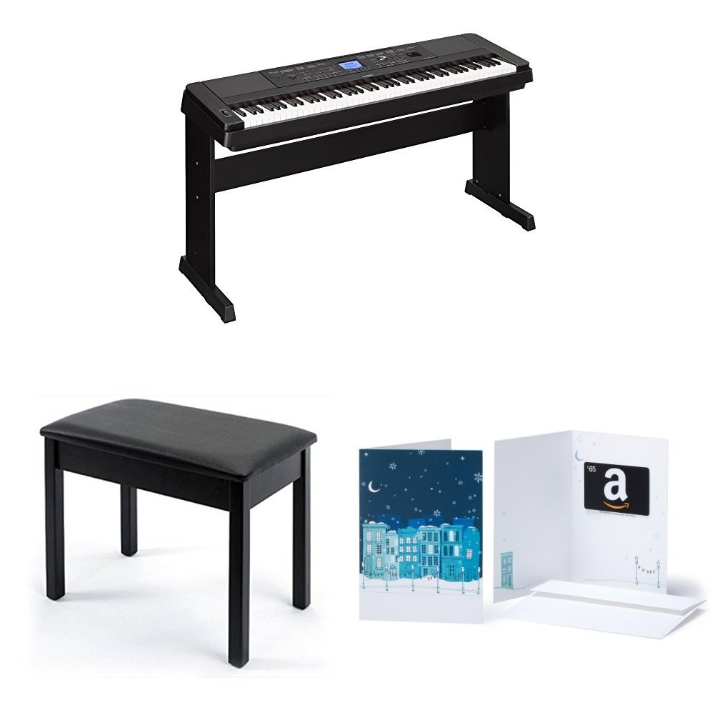 Yamaha DGX-660 88-Key Weighted Action Digital Grand Piano with Matching Stand, Bench and $75 Amazon.com Gift Card by