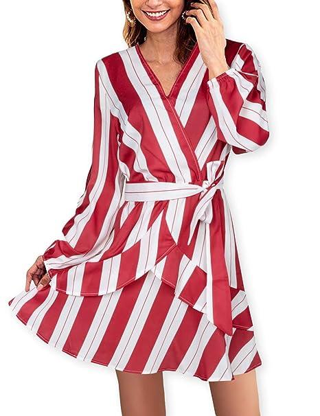 ec6d433f20 AOOKSMERY Women Sexy Strips Ruffles V-Neck Long Sleeve Empire Waist Short  Dress with Belt