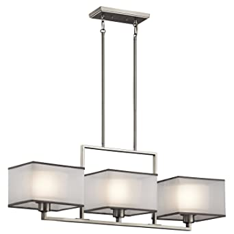 kichler lighting 43437ni kailey 3lt linear chandelier brushed nickel finish with etched opal glass shades - Kichler Lighting