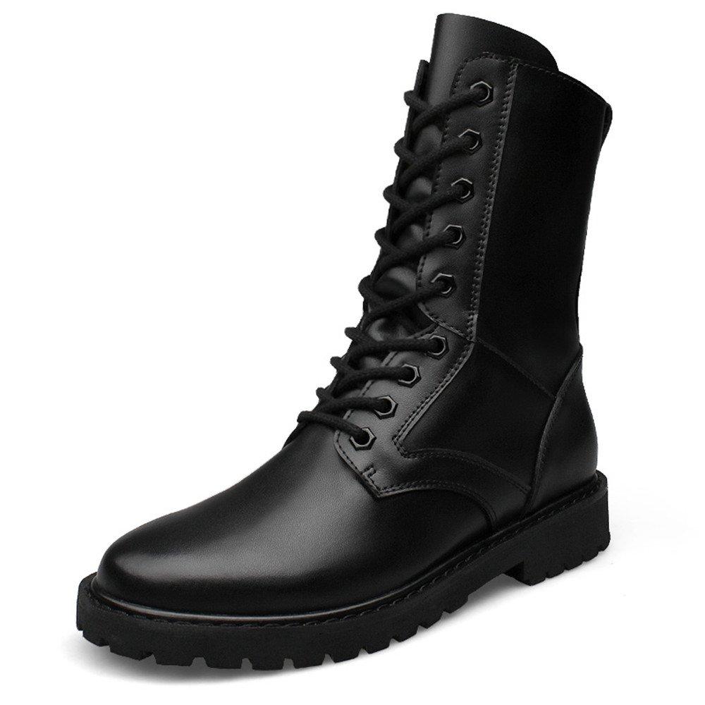 Xiaojuan-Stiefel Herren Leder High Top Fashion Mittlere Stiefel Modische Militär Aufzug Schuhe (Warm Velvet Optional) (Farbe   Taller Warm schwarz, Größe   39 EU)