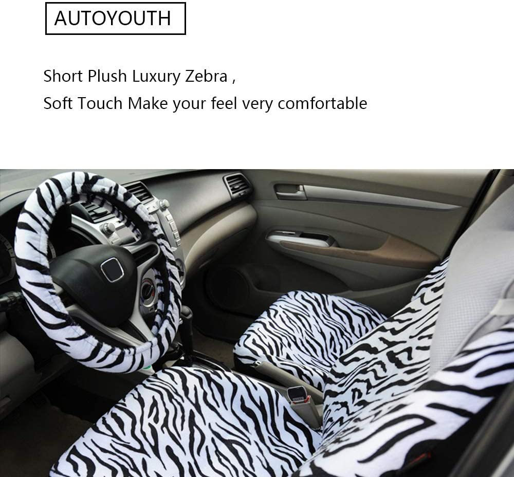 AUTOYOUTH Short Plush Luxury Zebra Cover Seats for Cars with Steering Wheel Cover and Seat Belt Pads
