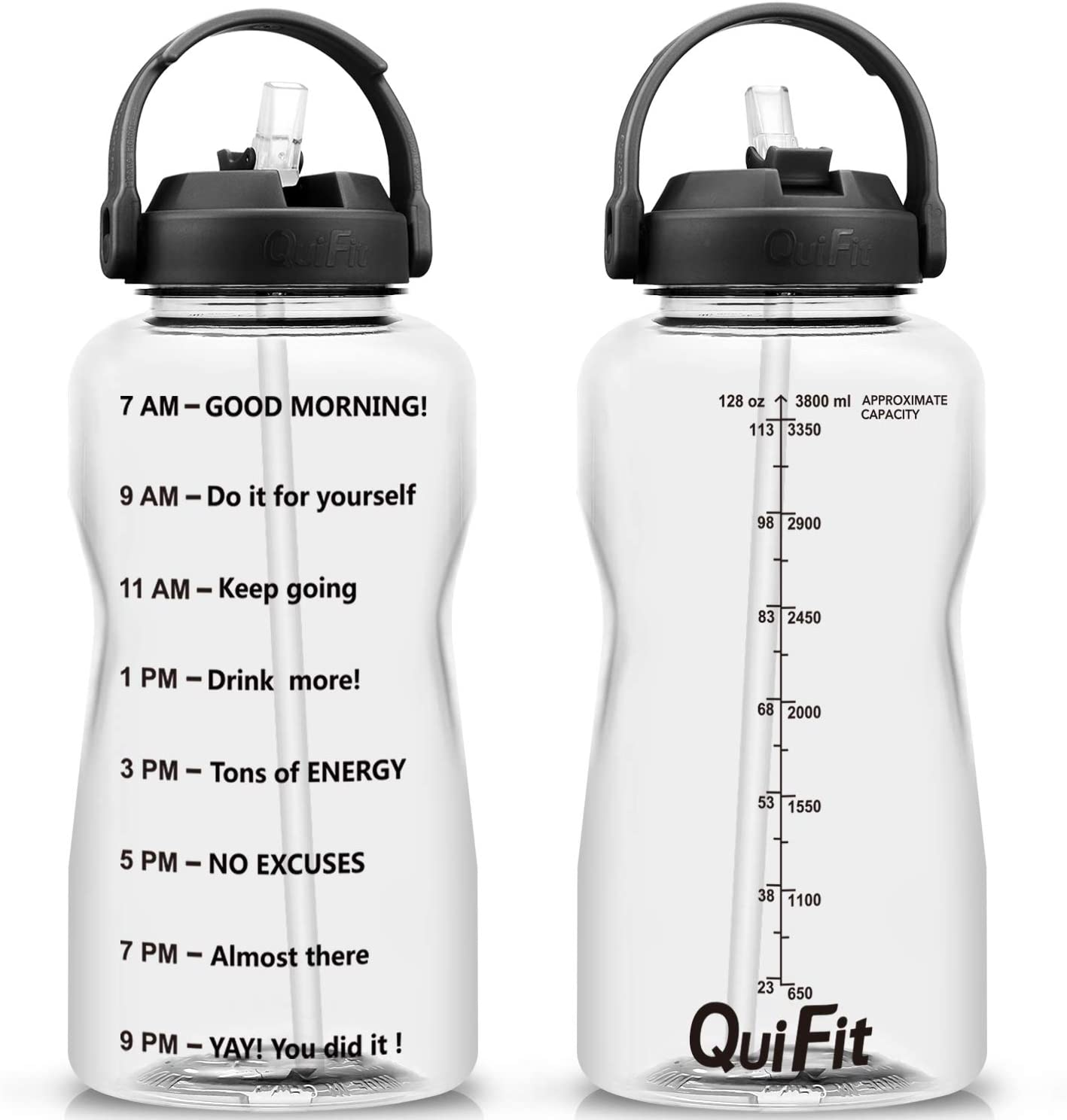 BuildLife Gallon Water Bottle Dishwasher Safe Wide Mouth Leakproof - BPA Free with Straw &Phone Holder Handle/Reminder to Drink More Daily