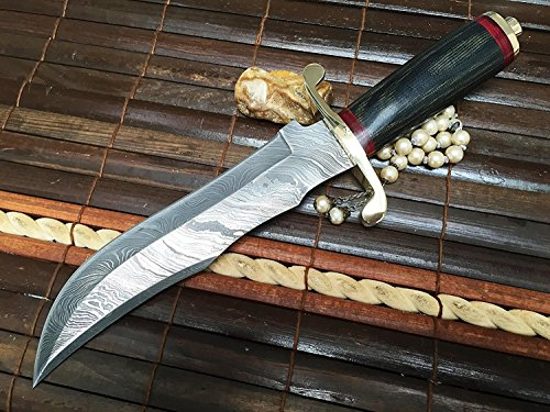 Perkin | 12 Inch Razor Sharp Fixed Blade Damascus Steel Bowie Knife | Full Tang Blade W/A High Grade Leather Sheath| Designed for Hunting, Survival, Skinning, Camping & Self Defense | by Perkin (Image #2)
