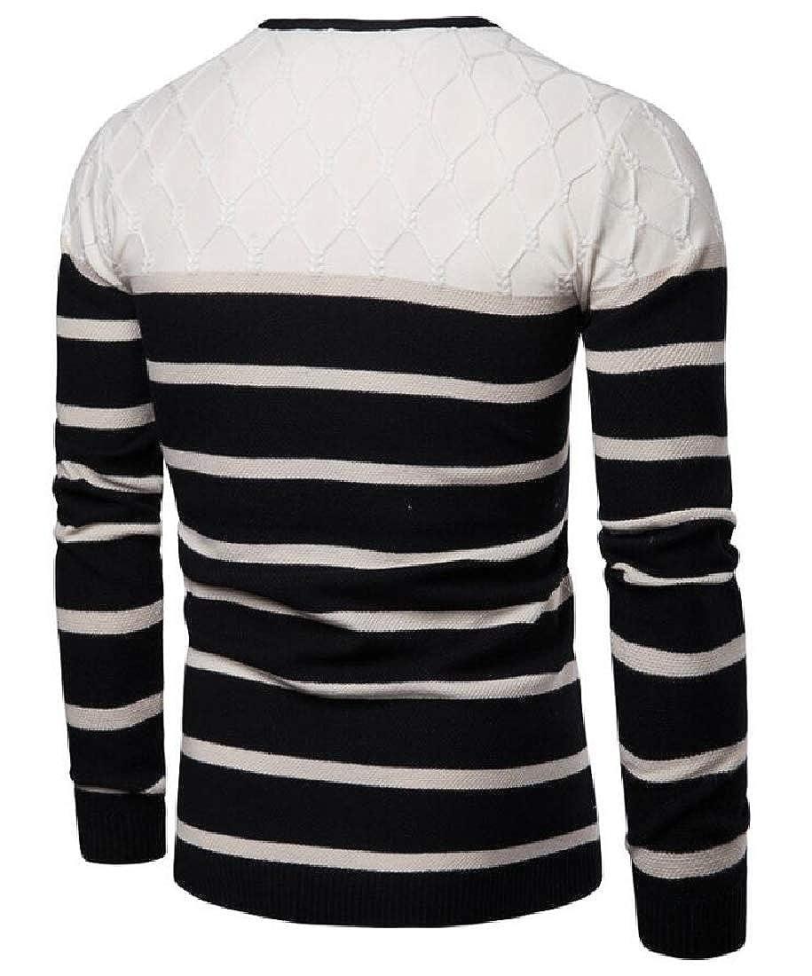 GenericMen V Neck Striped Sweater Slim Pullover Jumper Knitwear Blouse