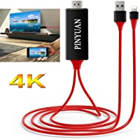 PINYUAN Compatible with iPhone iPad to HDMI Adapter Cable, 1080P Digital AV HDMI Adaptor Connector Cord for iPhone Xs Max XR X 8 7 6 Plus iPad Pro Air Mini iPod - Plug and Play(Red)