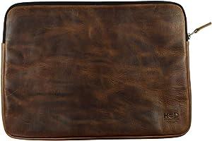 Hide & Drink, Leather Laptop Sleeve W/Internal Folder, Travel Case, Document Organizer, Office Essentials, Handmade Includes 101 Year Warranty :: Bourbon Brown