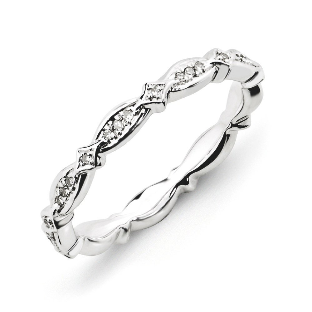 2.75mm Rhodium Sterling Silver Stackable .11Ctw Diamond Band (I3 Clarity, H-I Color), Sz 5