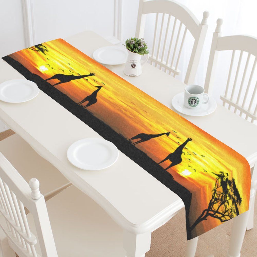 interestprint Giraffe Sunset Landscapeテーブルランナーホーム装飾16 x 72インチ、アフリカ野生動物テーブルクロスランナー用ウェディングパーティー宴会装飾 14 X 72 inch 14 X 72 inch  B073FJJ71M