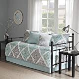 5 Piece Aqua Grey Floral Daybed Cover Set, Geometric Coastal French Country Shabby Chic Motif Flower Design Pattern Day Bed Bedskirt Pillows, Polyester
