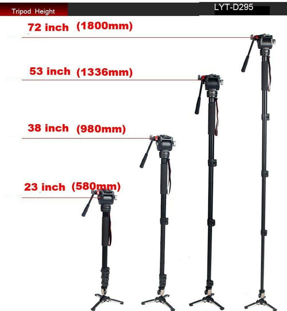 Professional DV Video Camera Tripods Monopods Fluid-Pan Head Kit 72 inch 1800mm
