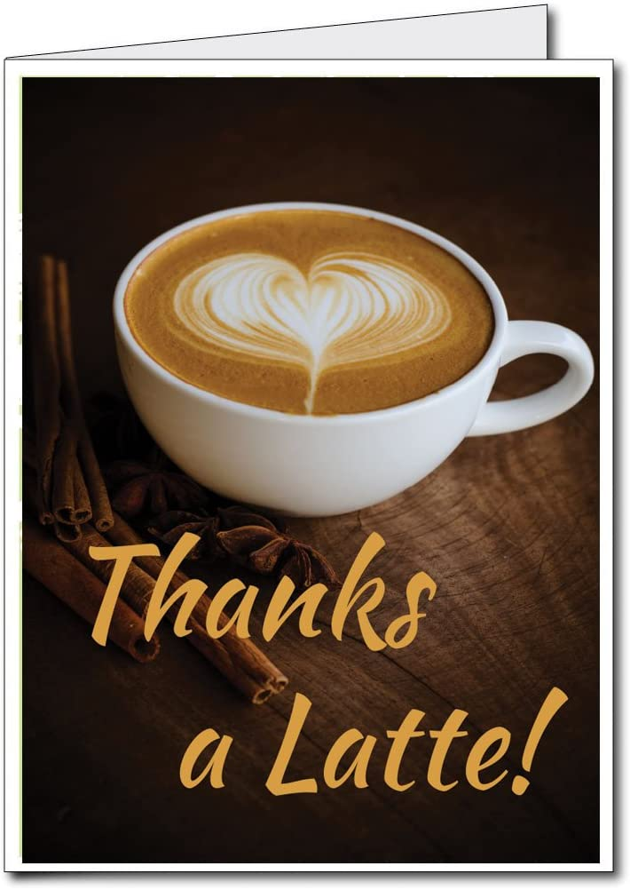 """3 Handmade Coffee Thank You /""""Thanks a Latte/"""" Blank Greeting Cards"""