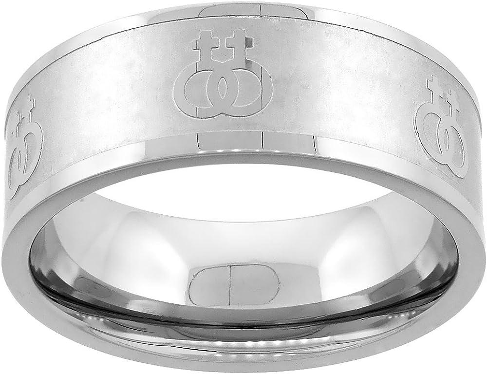 Sabrina Silver Stainless Steel Lesbian Symbols Ring 8mm Wedding Band, Sizes 5-9