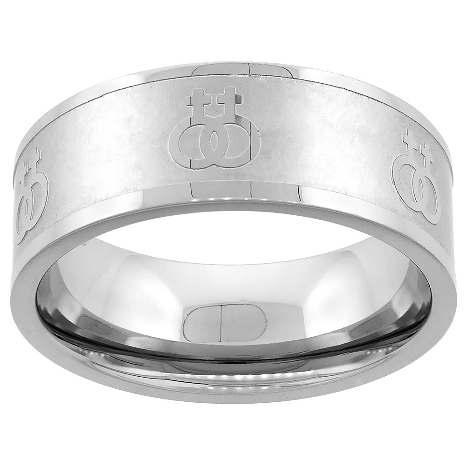 stainless steel lesbian symbols ring 8mm wedding band