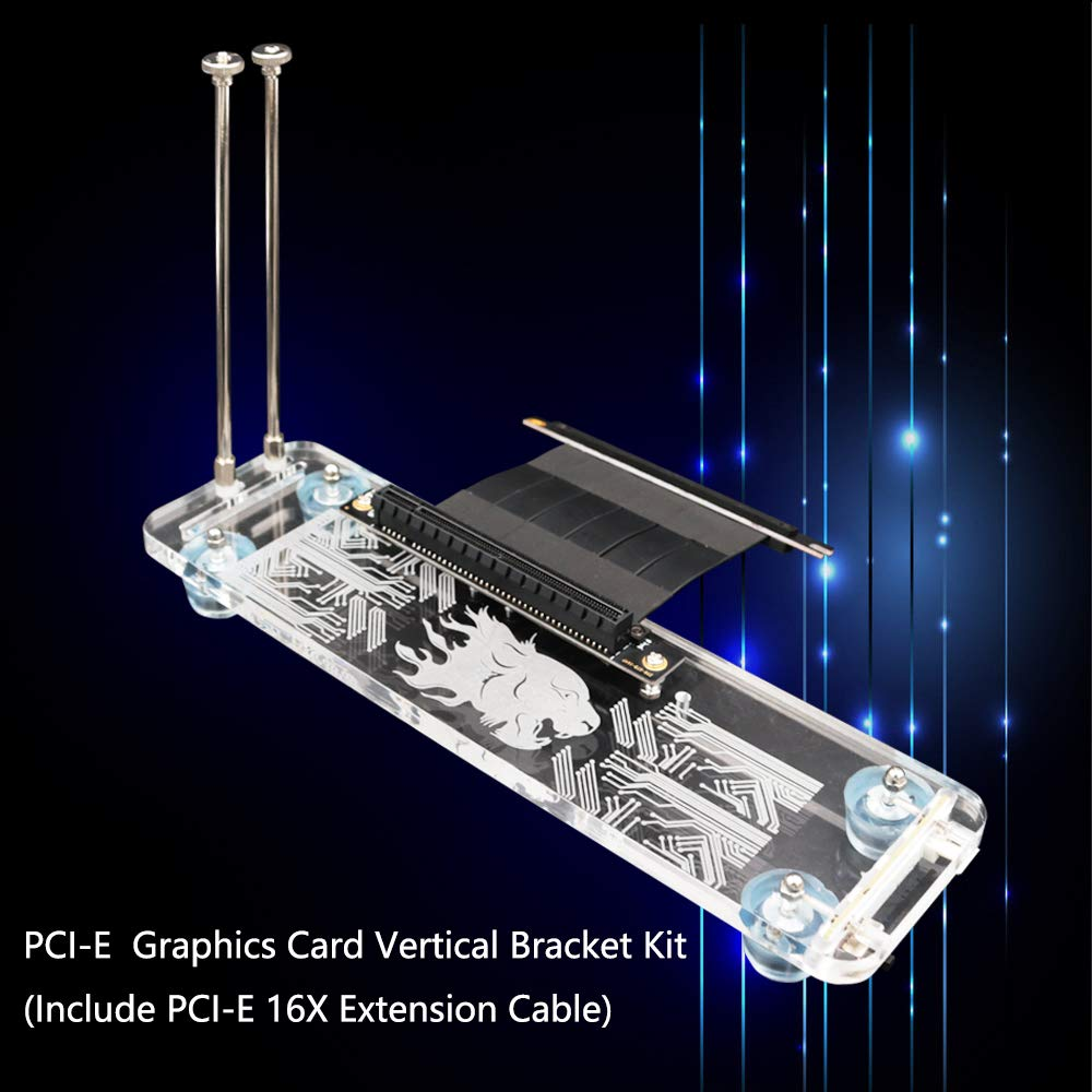 PCI- E 3.0 16X Graphics Card Vertical Kickstand/Base with RGB LED Light and PCI-E Extension Cable for DIY ATX case led Graphics Card Holder(PCI- E 3.0 16X) by Timack
