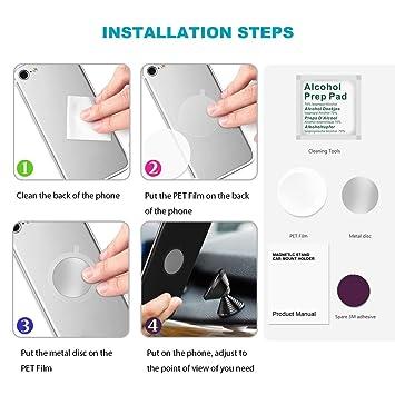 Gugutogo Forma con Mancuernas Mini Universal Magnetic Car Mobile Phone Holder aleación de Aluminio 360 Grados Giratorio Autoadhesivo Inferior: Amazon.es: ...
