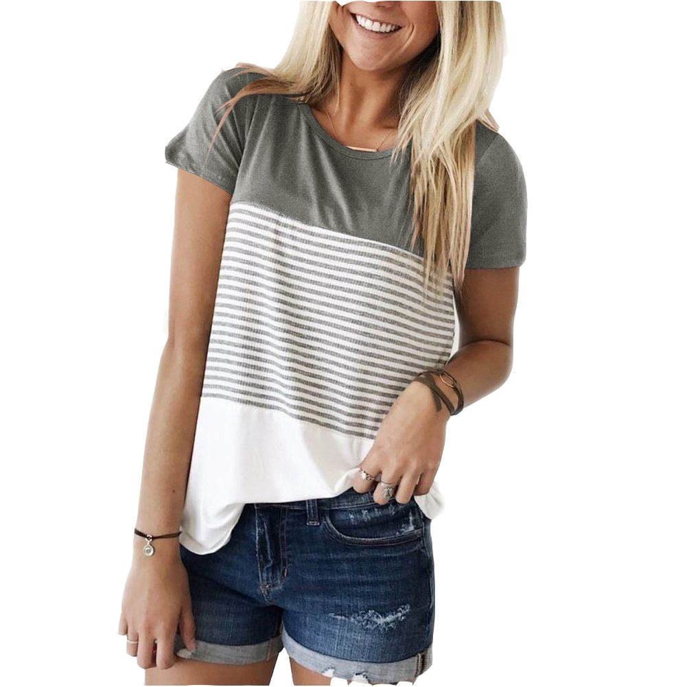 ZAWAPEMIA Womens Striped Tshirt Triple Color Block Short Sleeve Casual Blouse S Gray