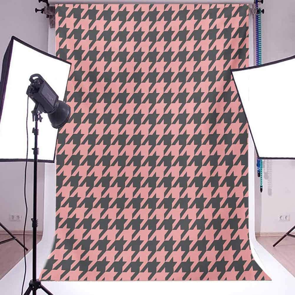 Traditional Scottish Plaid Houndstooth Pattern Old Fashioned Pastel Background for Photography Kids Adult Photo Booth Video Shoot Vinyl Studio Props Pale Pink 10x12 FT Photography Backdrop