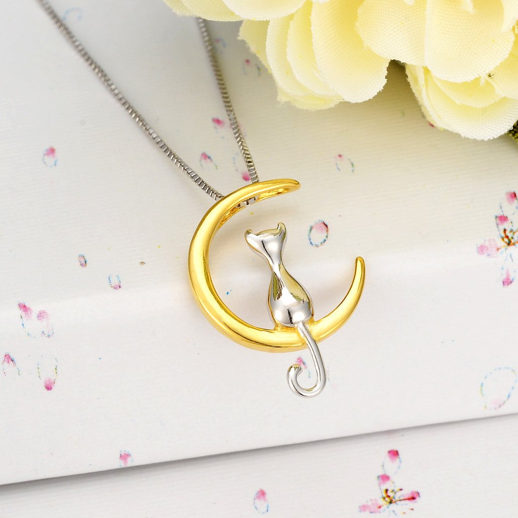 EVER FAITH Womens 925 Sterling Silver Cat Sitting on Crescent Moon Daily Pendant Necklace Gold-Color