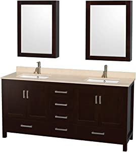 Wyndham Collection Sheffield 72 inch Double Bathroom Vanity in Espresso, Ivory Marble Countertop, Undermount Square Sinks, and Medicine Cabinets