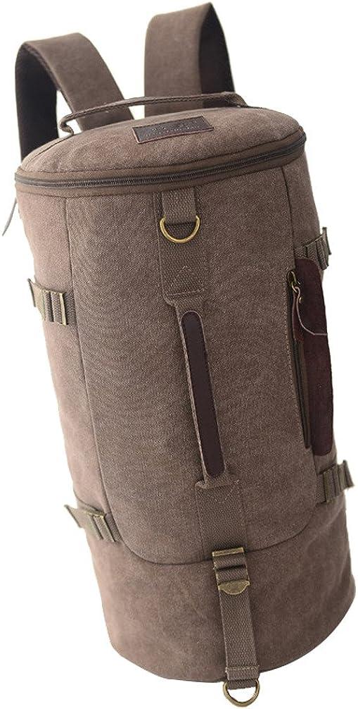 Brown Yiuswoy Novel Fashion Portable Canvas Outdoor Travel Handbag Backpack Rucksack