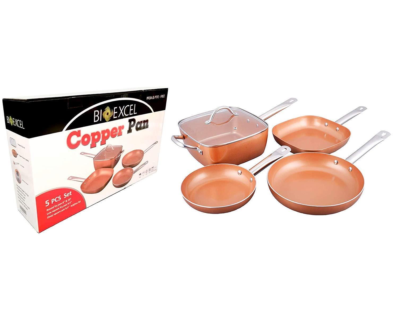Bioexcel - Juego de sartenes de cobre con asas de acero inoxidable - 5 piezas - Incluye sartén redonda, pote cuadrado con tapa de vidrio - Juego de sartenes ...
