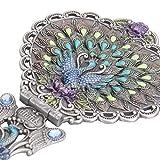 Nerien Vintage Peacock Metal Mirror Comb Set