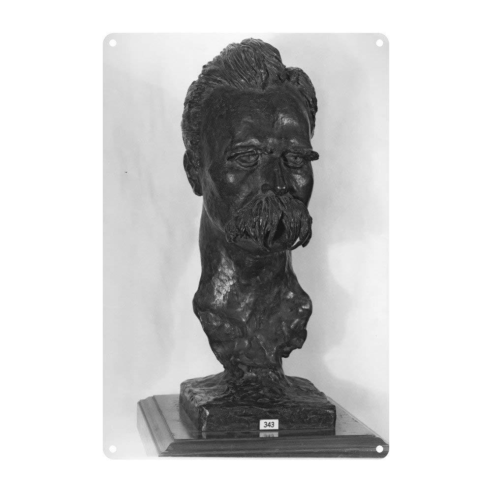 20 x 30 cm Placa Decorativa de Metal dise/ño Vintage KellyPlaques Busto de Friedrich Nietzsche