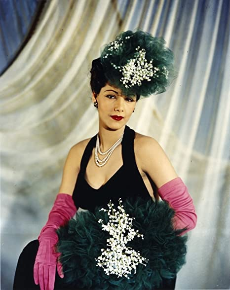 Amazon Maria Montez Posed In Black Dress With Gloves Photo