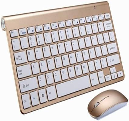 LLLLDDLLLDM - Teclado Bluetooth para Smart TV, Ordenador, portátil, Reproductor Multimedia, diseño Compacto, Juego de ratón y Teclado Dorado Dorado 285 × 133mm: Amazon.es: Informática
