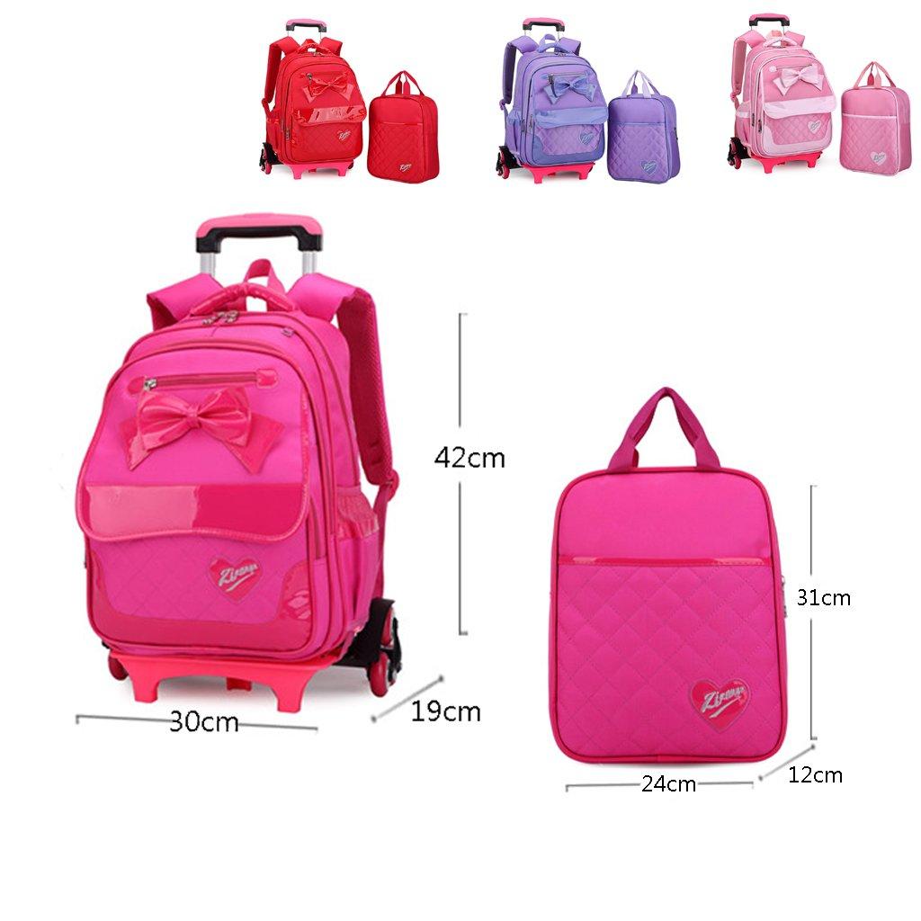 5d1b04dd4c98 UEK Girls Trolley Backpack Wheeled School Bag Kids Bookbag Set   Amazon.co.uk  Luggage