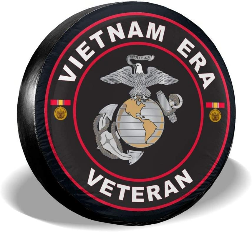 Marine Corps Vietnam Era Veteran Spare Tire Cover Universal Wheel Tire Cover for Jeep Trailer RV SUV Truck Camper Travel Trailer Accessories TCOlivia U.S