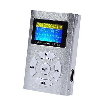 LANDFOX Pantalla LCD Mini jugador de MP3 Soporte de tarjeta de 32 GB Micro SD TF(Plata)