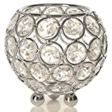 VINCIGANT Silver Crystal Tealight Candle Sleeve Holders for Wedding Coffee Table Decorative Centerpiece Birthday/Valentines Day Gifts,3 Inch Diameter