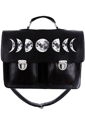 9eeeef8f56b29 Restyle Gothic Kunstleder Moon Cycle Phasen Umhängetasche Aktentasche Wicca Punk  Tasche