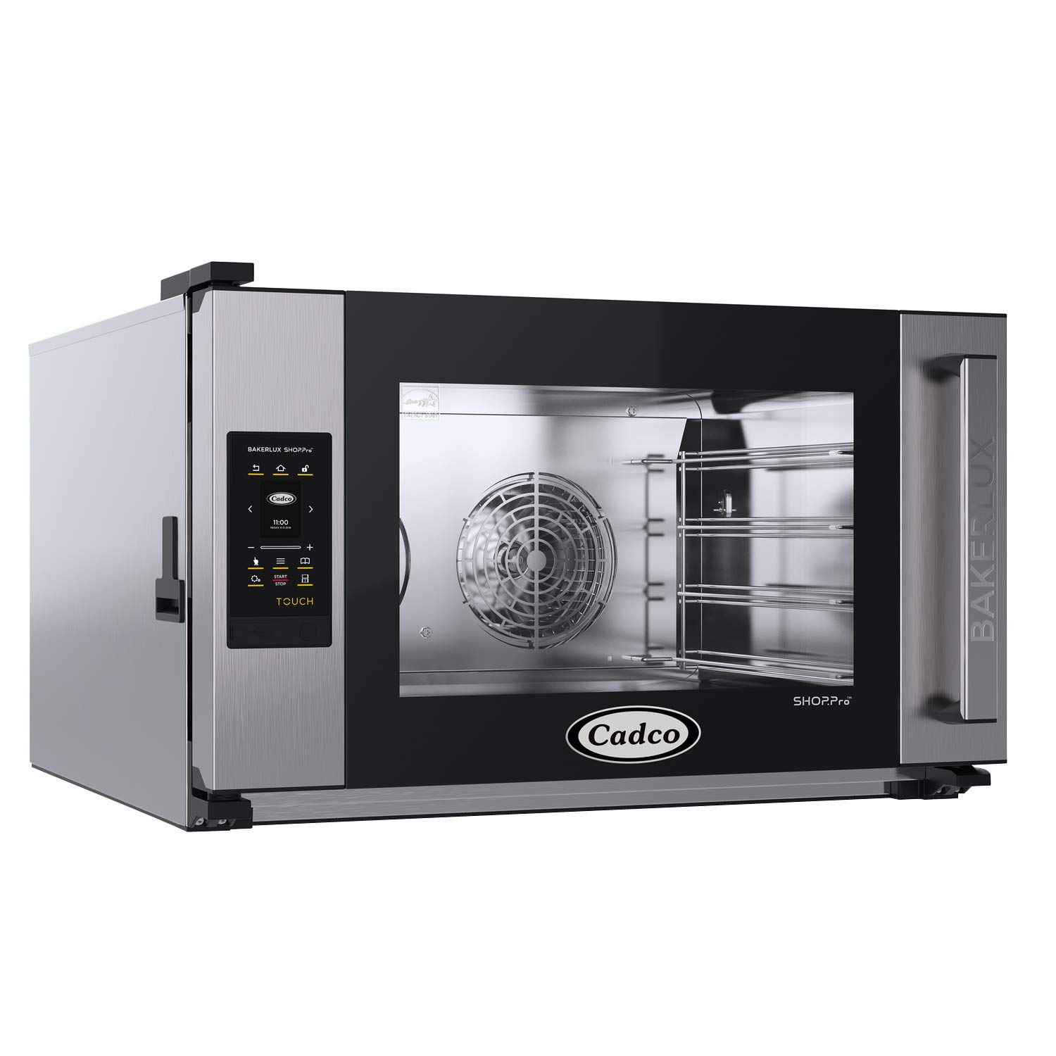 Cadco XAFT-04FS-TR Bakerlux TOUCH Heavy-Duty Electric Countertop Convection Oven, (4) Full Size Sheet Pan Capacity, Side Hinged Glass Door