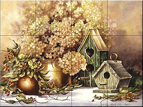 Ceramic Tile Mural - Antique Birdhouses- by Peggy Thatch Sibley - Kitchen backsplash / Bathroom (Antique Store Birdhouse)