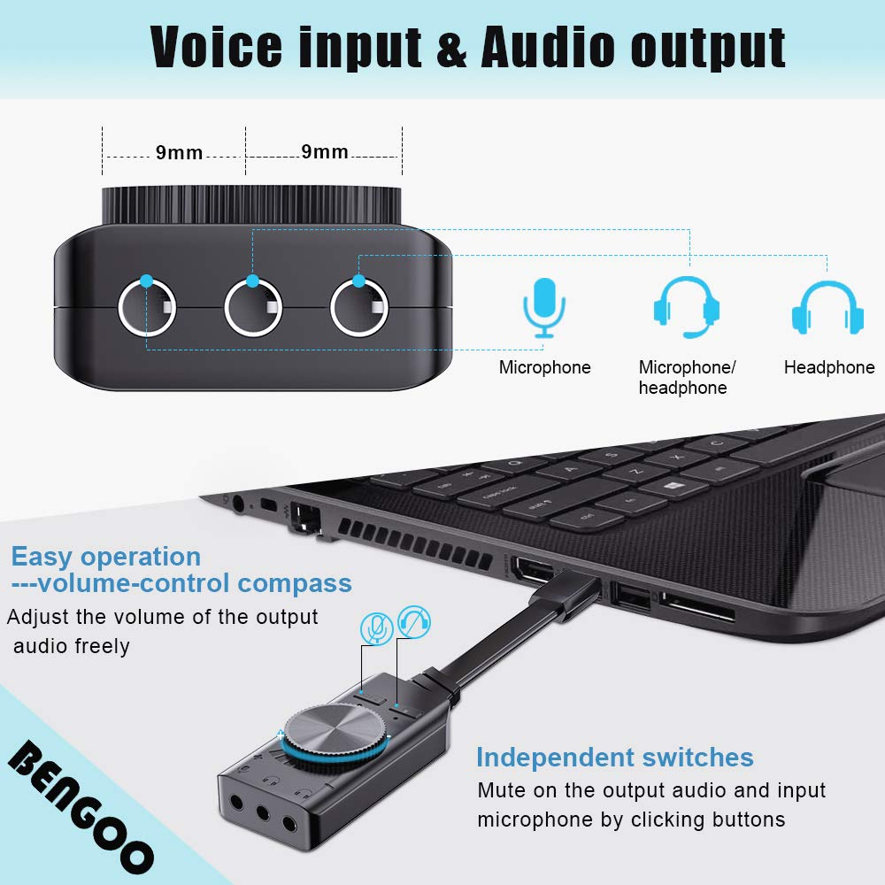 red USB Hub Virtual 7.1 Channel Sound Card Adapter External Sound Card with 3.5mm AUX Mic Jack for PC Computer Gaming Headset Headphones Earphone PS4 Laptop Desktop Windows Mac OS Linux Plug Play