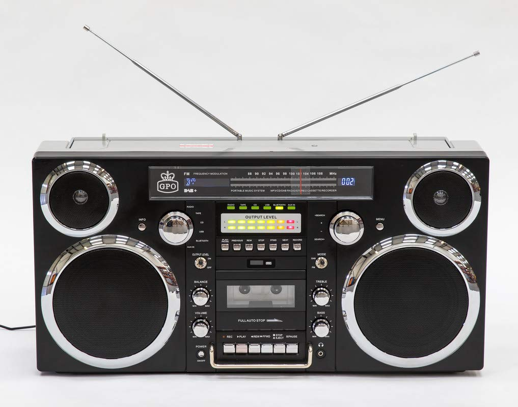 GPO Brooklyn Boombox Portable 1980s Retro Style Music System with CD/Cassette/DAB Radio and Bluetooth - Black by GPO (Image #4)