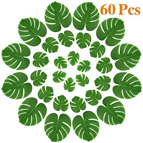 MOMOTOYS 60Pcs Palm Leaves Tropical Party Decorations Simulation Artificial Leaves Monstera Leaves Hawaiian Luau Aloha Jungle Theme Party Decorations Beach Moana Wedding Birthday Party Table Decor