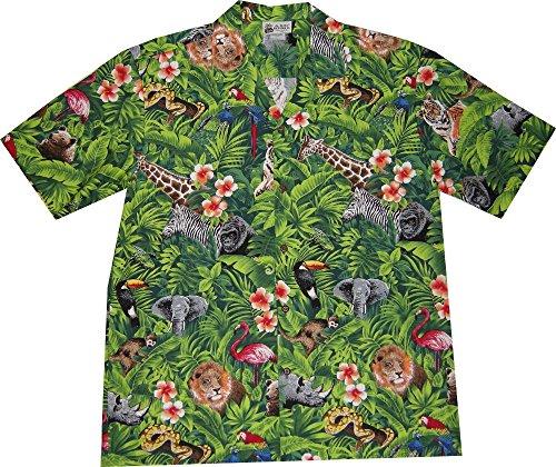 XL Green Men's Women's Aloha Republic Forest Zoo Animals Hawaiian ()