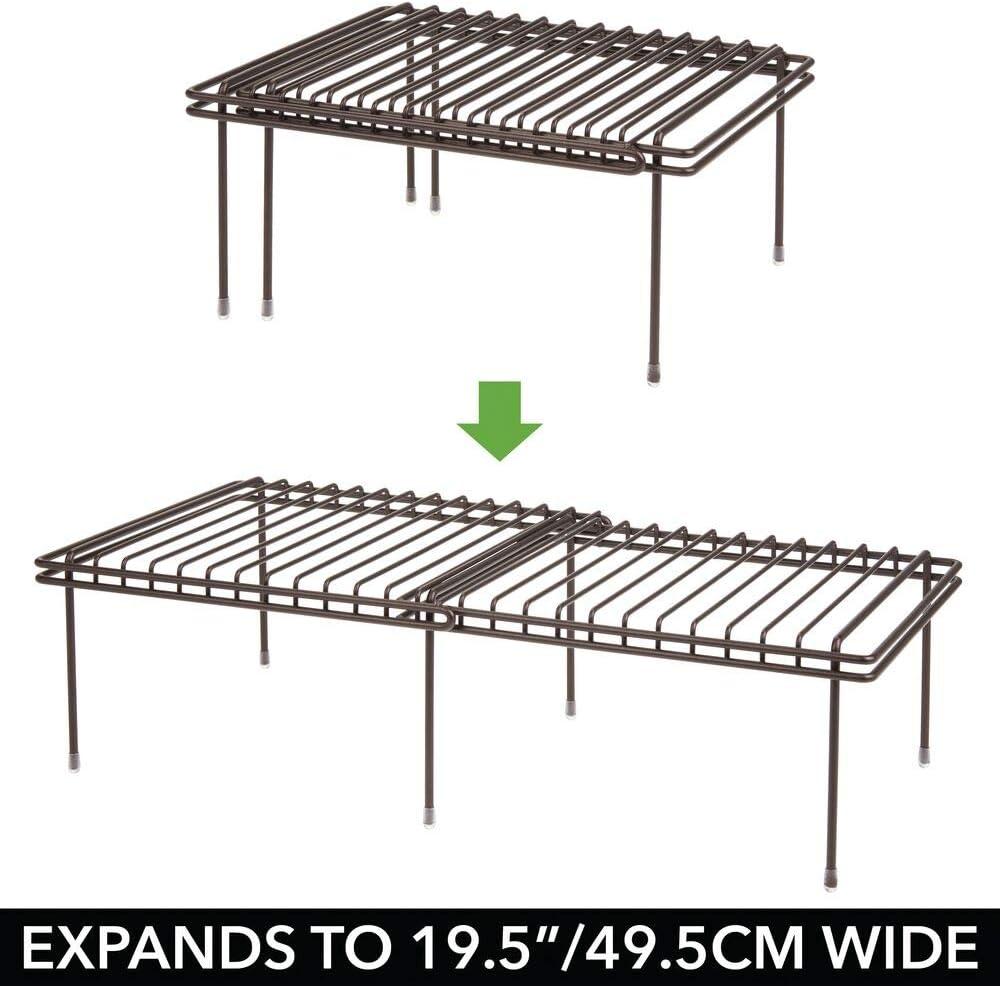 mDesign Juego de 2 accesorios para interiores de armarios de cocina – Práctica balda extensible de metal para ampliar el espacio – Estante para platos antideslizante – color bronce: Amazon.es: Hogar