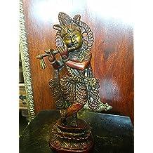 Indian Statue Fluting Krishna Brass Sculpture God of Love Divine Joy Idol Figurine India
