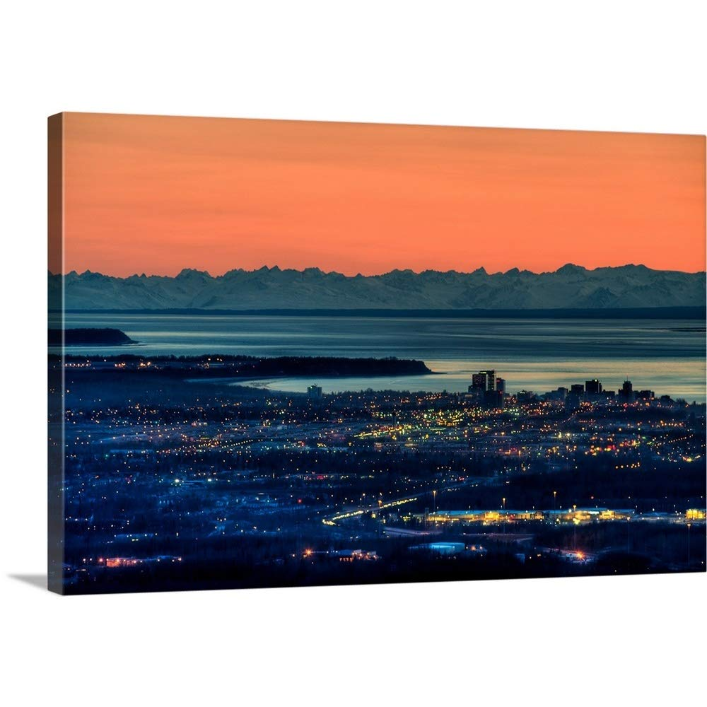 "GREATBIGCANVAS Gallery-Wrapped Canvas Entitled The City of Anchorage Alaska at Sunset with Cook Inlet in The Background by 18""x12"""