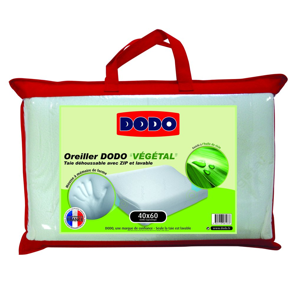oreiller 40 x 60 cm dodo memoire de forme Dodo Vegetal Oreiller Uni Ergonomique Mousse à mémoire de forme  oreiller 40 x 60 cm dodo memoire de forme