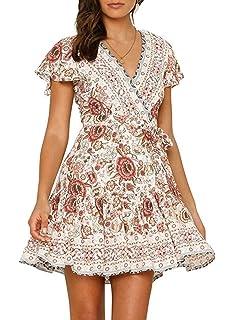 16fcc57fe547 Vruan Summer Dresses for Women Short Sleeve A-line Bohemian Floral Print  Casual Dresses V Neck…