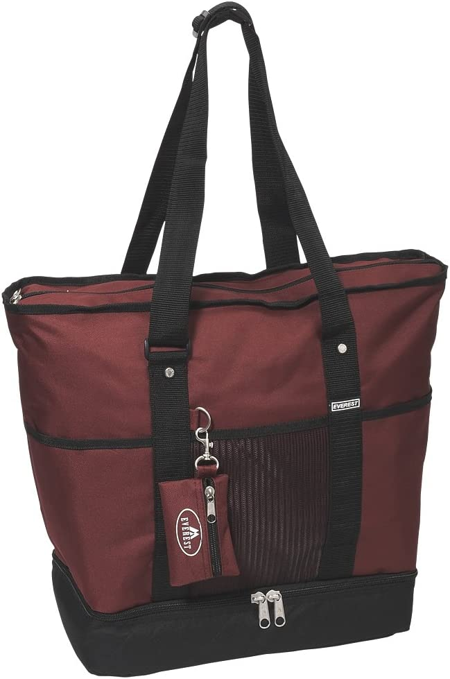 Everest Luggage Deluxe Shopping Tote, Burgundy/Black, Burgundy/Black, One Size